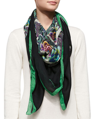 Kaleidoscope Floral Wrap, Green/Black