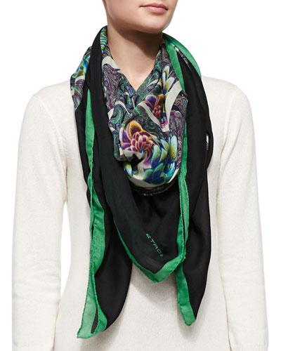 Kaleidoscope Floral Wrap, Green/Black