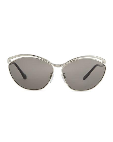Metal Aviator Sunglasses, Shiny Palladium