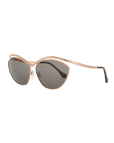 Floating Metal Aviator Sunglasses, Rose Golden