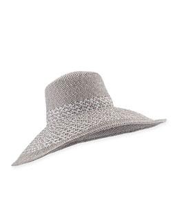 Eric Javits Swinger Wide-Brim Hat, Silver