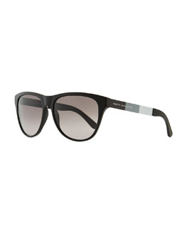 Marc by Marc Jacobs Plastic Round-Bottom Rectangle Sunglasses, Black/Gray