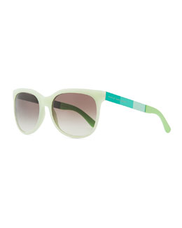 Marc by Marc Jacobs Plastic Round-Bottom Rectangle Sunglasses, Green