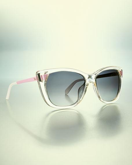 Transparent Plastic Cat-Eye Sunglasses, Clear/Pink/Gray