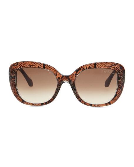 Snake-Print Oval Sunglasses, Black/Rose Gold