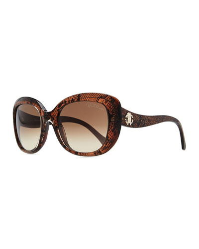 Roberto Cavalli Snake-Print Oval Sunglasses, Black/Rose Gold