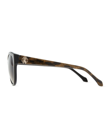 Plastic Oval Sunglasses, Brown
