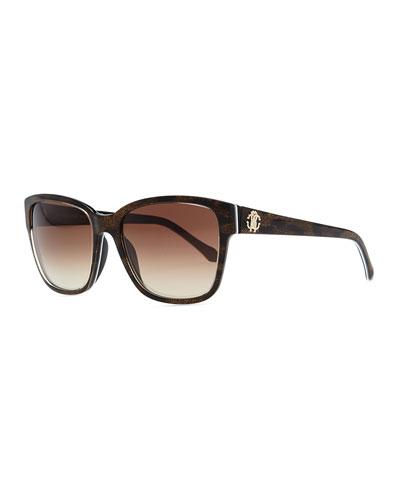 Roberto Cavalli Plastic Rectangle Sunglasses, Brown