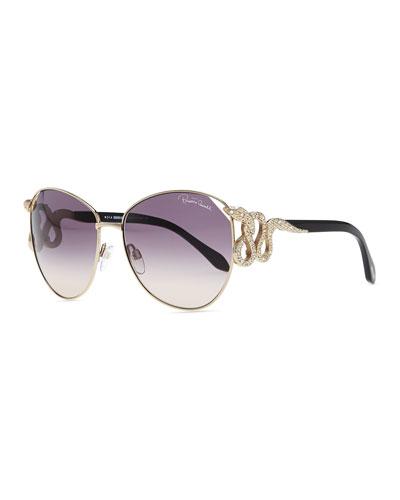 Roberto Cavalli Serpent-Temple Oversized Sunglasses, Rose Golden