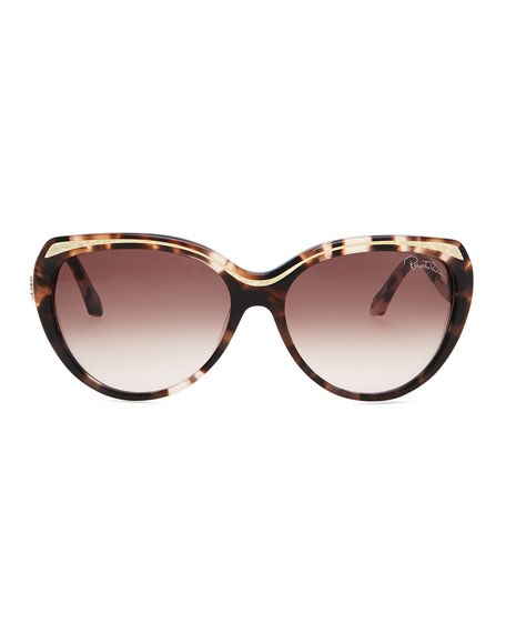 Plastic Cat-Eye Sunglasses with Snake-Embossed Arms