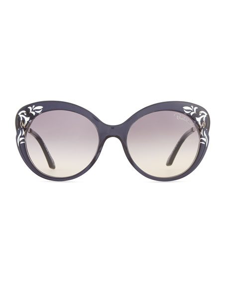 Cutout Plastic & Metal Cat-Eye Sunglasses, Black/Rose
