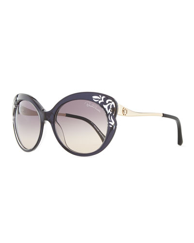 Roberto Cavalli Cutout Plastic & Metal Cat-Eye Sunglasses, Black/Rose