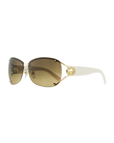 Gucci Oval Gradient Sunglasses with Open GG Temple, White