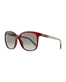 Gucci Plastic Rectangle Sunglasses, Red