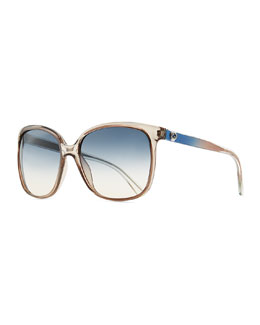 Gucci Plastic Rectangle Sunglasses, Brown