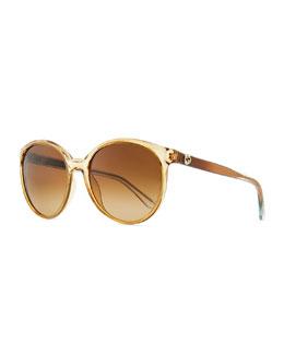 Gucci Sunglasses Round Transparent Plastic Sunglasses, Caramel