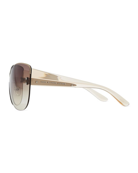 Rimless Shield Sunglasses with Transparent Arms, Beige