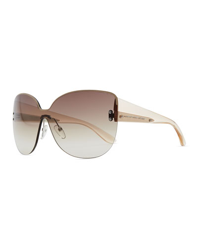 MARC by Marc Jacobs Rimless Shield Sunglasses with Transparent Arms, Beige