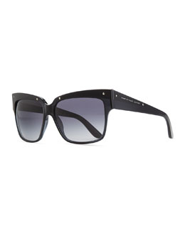 Marc by Marc Jacobs Plastic Square Sunglasses, Black/Gray