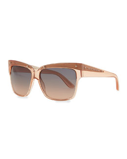 Marc by Marc Jacobs Transparent Plastic Square Sunglasses, Pink
