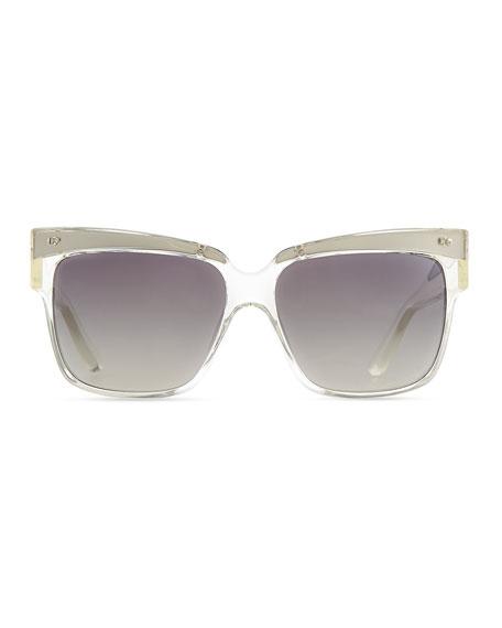 Transparent Plastic Square Sunglasses, Clear/Gray