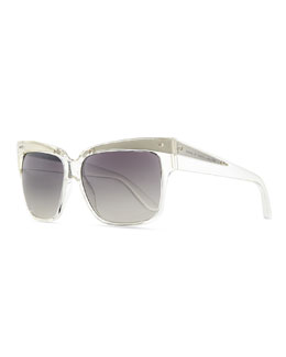 Marc by Marc Jacobs Transparent Plastic Square Sunglasses, Clear/Gray