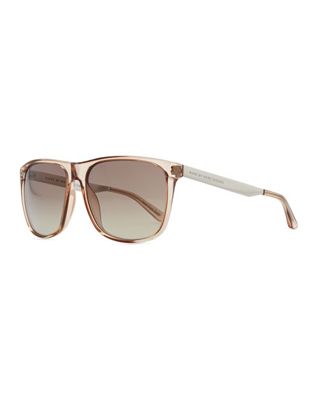 Clear Plastic Rectangle Sunglasses, Champagne