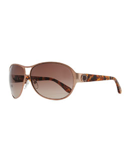 Marc by Marc Jacobs Metal Shield Sunglasses with Tortoise Arms, Copper