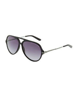 Marc by Marc Jacobs Plastic Aviator Sunglasses, Black