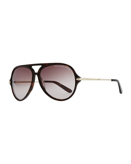 69f896d54c4 MARC by Marc Jacobs Tortoise Plastic Aviator Sunglasses