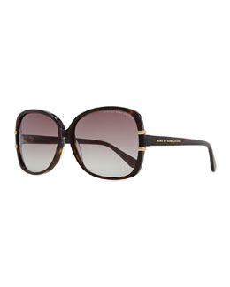 Marc by Marc Jacobs Oversized Plastic Tortoise Sunglasses, Dark Havana