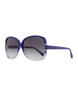 Marc by Marc Jacobs Oversized Plastic Sunglasses, Transparent Blue
