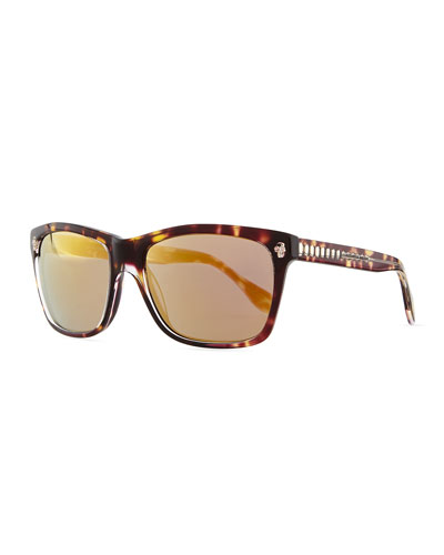 Alexander McQueen Havana & Golden Rectangle Sunglasses, Brown