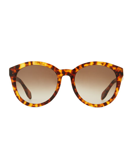 Havana Plastic Round Sunglasses, Brown