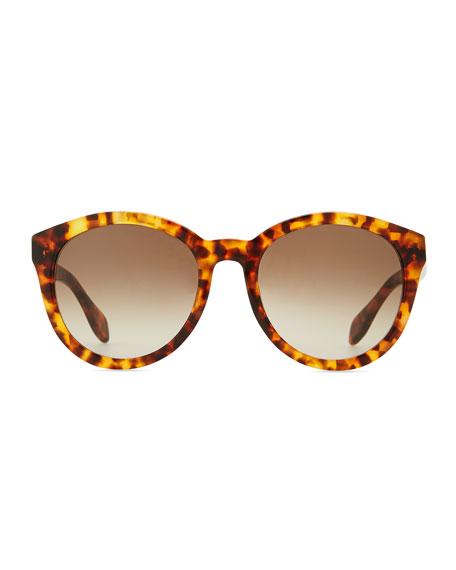 Havana Plastic Round Sunglasses, Brown