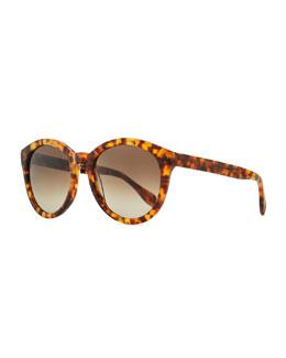 Alexander McQueen Havana Plastic Round Sunglasses, Brown