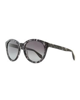 Alexander McQueen Havana Plastic Round Sunglasses, Gray