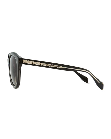 Golden-Trimmed Plastic Round Sunglasses, Gray