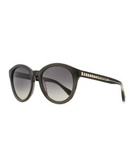 Alexander McQueen Golden-Trimmed Plastic Round Sunglasses, Gray