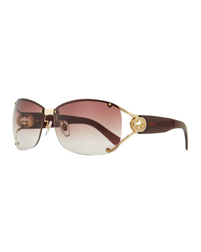 Gucci Oval Gradient Sunglasses with Open GG Temple