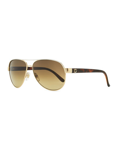 Gucci Metal Aviator Sunglasses with Ivory Brow