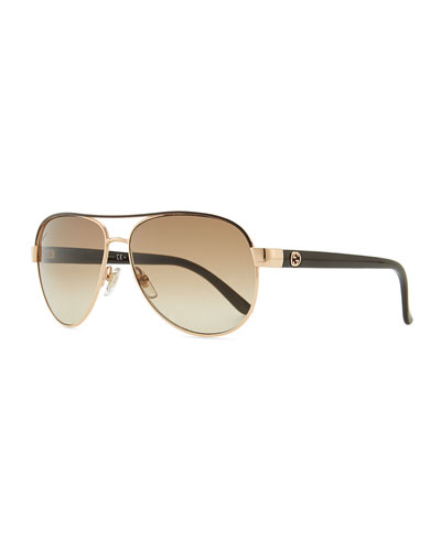 Gucci Metal Aviator Sunglasses with Brown Brow