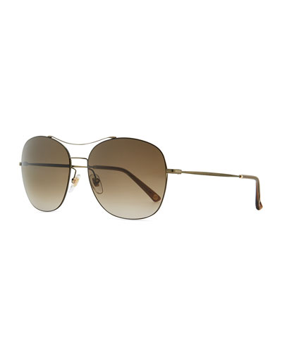 Gucci Olive Metal Round Aviator Sunglasses