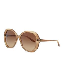 Bottega Veneta Plastic Oversized Sunglasses, Shell Beige