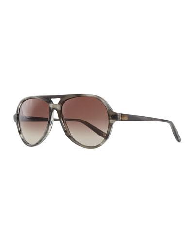 Bottega Veneta Classic Plastic Aviator Sunglasses, Gray Stripe