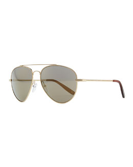 Bottega Veneta Metal Aviator Sunglasses, Golden/Green