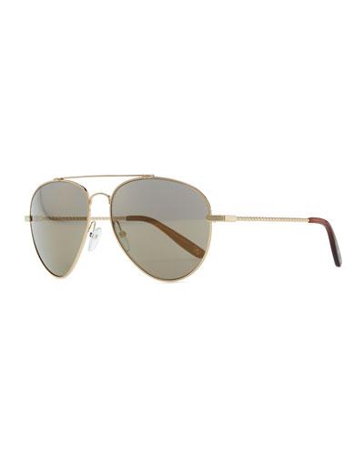 Bottega Veneta Metal Aviator Sunglasses, Golden/Green