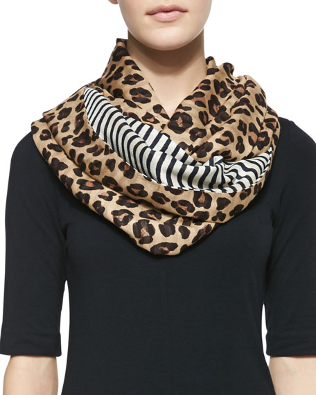 Leopard-Print & Striped Infinity Scarf