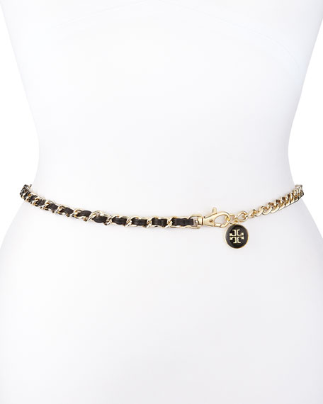 Logo Charm Leather Threaded Chain Belt, Black