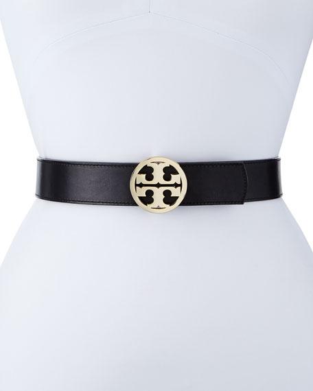 Tory Burch Reversible Classic Logo Leather Belt, Black/Luggage